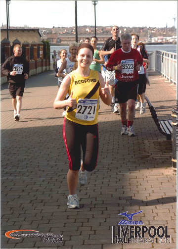 Kathryn at the Liverpool Marathon - photo courtesy of Marathonfoto